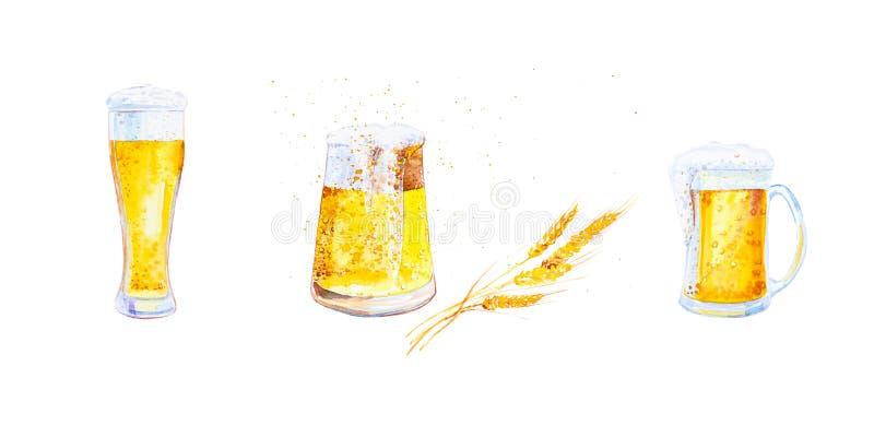 Stellen Sie von den Bechern ein, die mit Bier mit Schaum und den Ohren des Weizens mit Krumen gefüllt werden Aquarellillustration stockfotografie