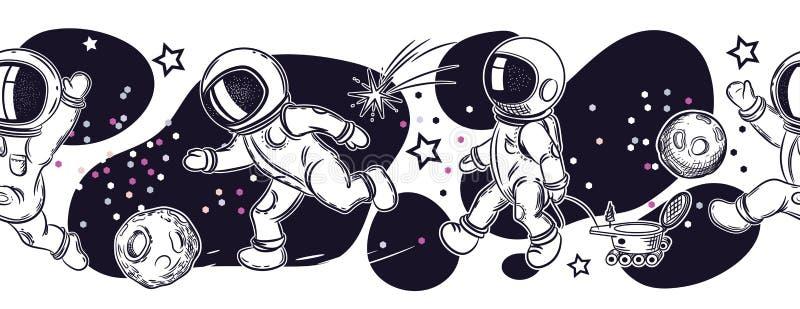 Stellen Sie von den Bildern von Astronauten ein Astronauten spielen Fußball, Fischen, Fliegen in einem Ballon lizenzfreie abbildung