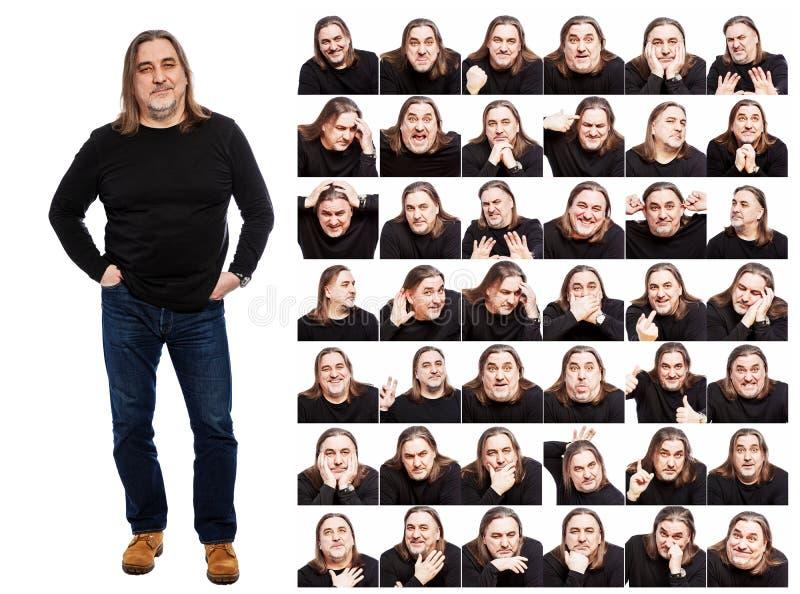 Stellen Sie von den Bildern eines Mannes von mittlerem Alter ein Verschiedene Gef?hle, Collage Wei?er Hintergrund lizenzfreies stockfoto