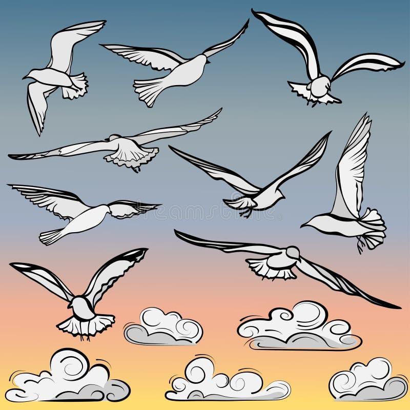 Stellen Sie von den Bildern von Fliegenvögeln und von üppigen Wolken ein vektor abbildung