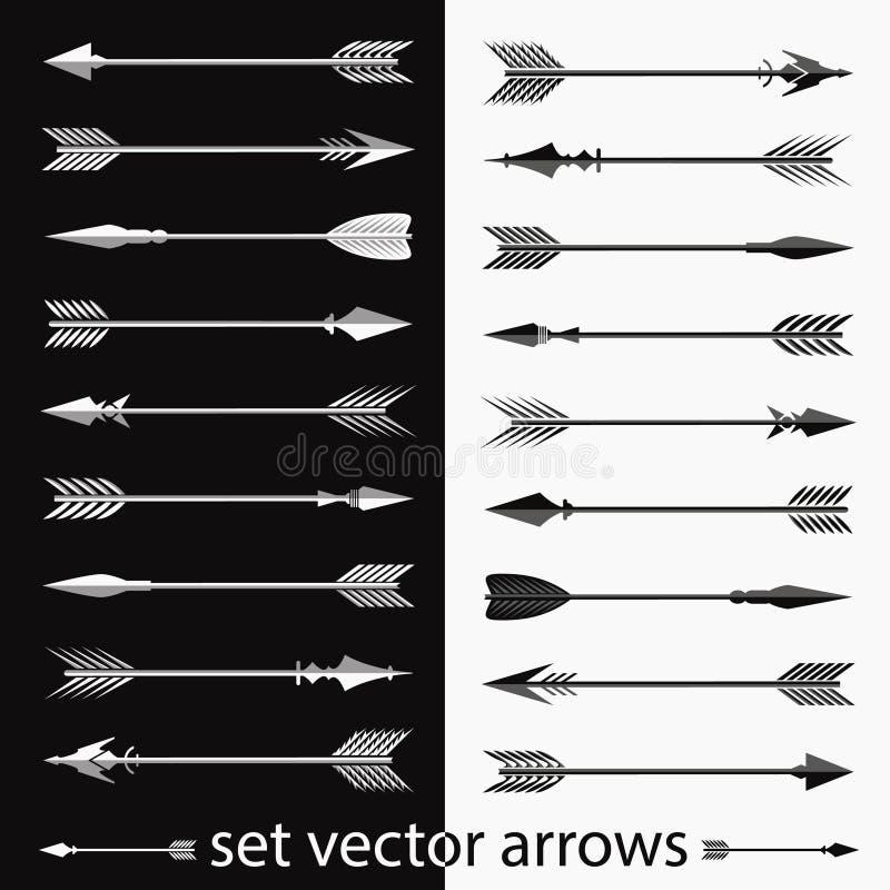 Stellen Sie von den Bildern von Vektorhandgezogenen Pfeilen ein handarbeit Ethnische Vektorelemente des Hippies vektor abbildung