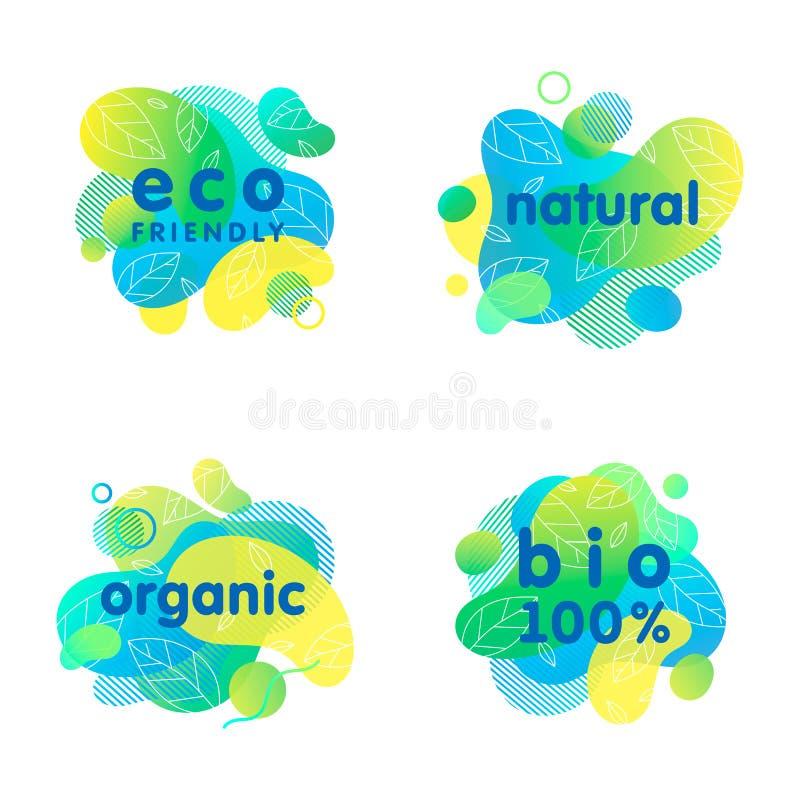 Stellen Sie von den Bio-, eco, organischen, natürlichen Aufklebern und von den Logos ein vektor abbildung