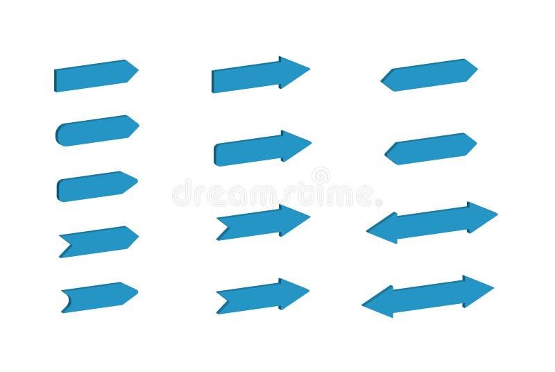 Stellen Sie von den blauen dreidimensionalen Pfeilen von verschiedenen Formen und von Konfigurationen für Entwurf ein vektor abbildung