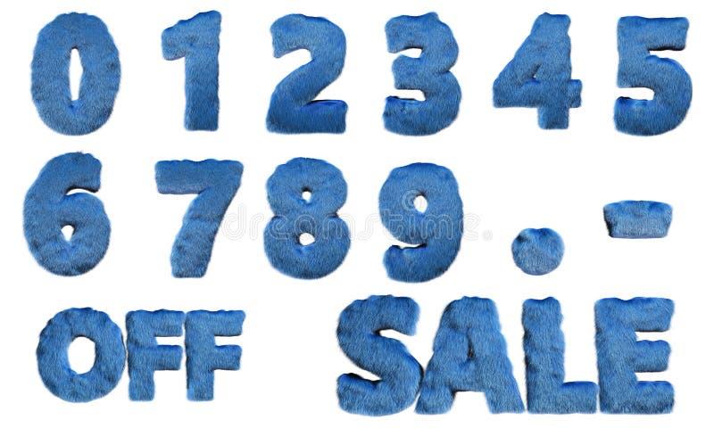 Stellen Sie von den blauen haarigen Zahlen und der Illustration der Verkaufsfahne 3d ein vektor abbildung