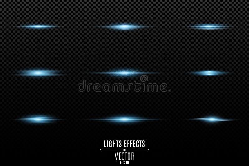 Stellen Sie von den Blaulichteffekten auf einen transparenten Hintergrund ein Blitze und greller Glanz Helle Strahlen der Leuchte vektor abbildung