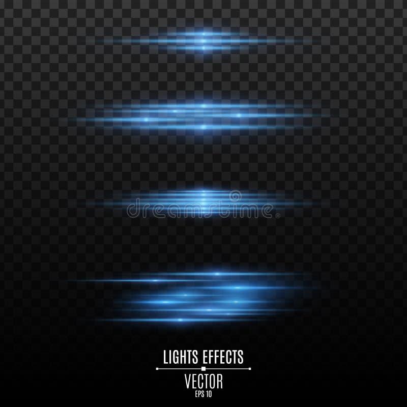 Stellen Sie von den Blaulichteffekten auf einen transparenten Hintergrund ein Blitze und greller Glanz Neonstrahlen des Lichtes G vektor abbildung