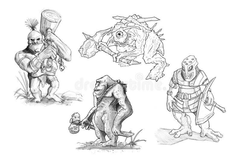 Stellen Sie von den Bleistift-oder Tinten-Zeichnungen von verschiedenen Fantasie-Monstern ein vektor abbildung