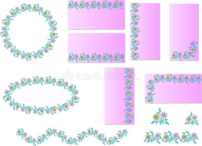 Stellen Sie von den Blumenrahmen von abstrakten flachen Blumen auf einem empfindlichen rosa Hintergrund ein lizenzfreie abbildung
