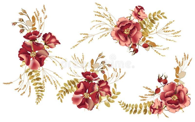 Stellen Sie von den Blumenstr?u?en, von der Anordnung mit sch?ner Burgunder-Rose und von den Goldtropischen Bl?ttern ein vektor abbildung