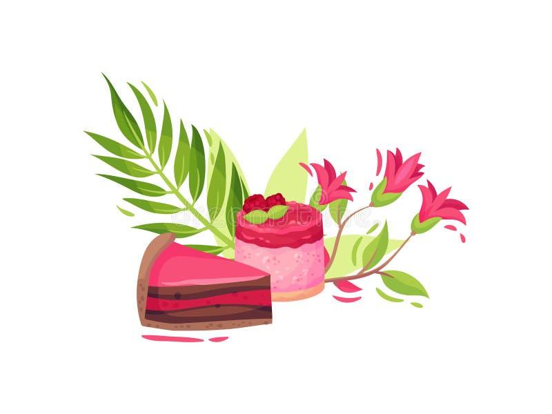 Stellen Sie von den Bonbons mit Blumen ein Stück des Doppelschichtkuchens und des Himbeerkleinen kuchens Vektorabbildung auf wei? stock abbildung
