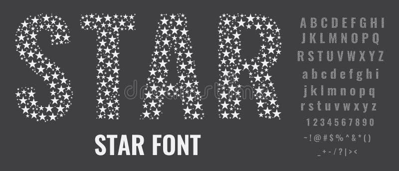 Stellen Sie von den Buchstaben ein, die von den Sternen gemacht werden Kreative G?sse mit Kapital, kleinen Buchstaben, Zahlen und vektor abbildung