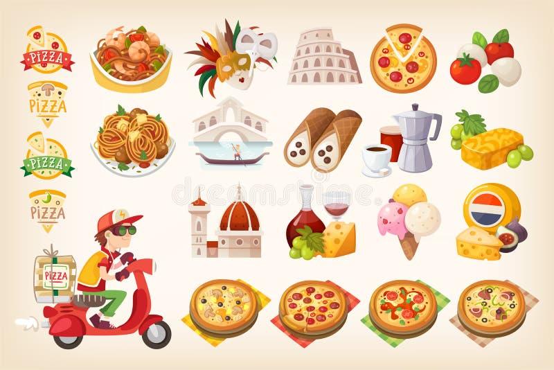 Stellen Sie von den bunten Bildern von italienischen Elementen ein Symbole von Italien stockbild
