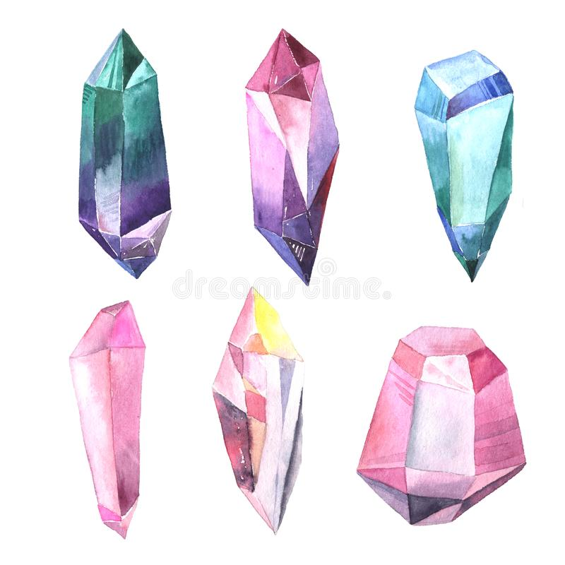 Stellen Sie von den bunten Edelsteinen und den Kristallen des Aquarells ein lizenzfreie abbildung