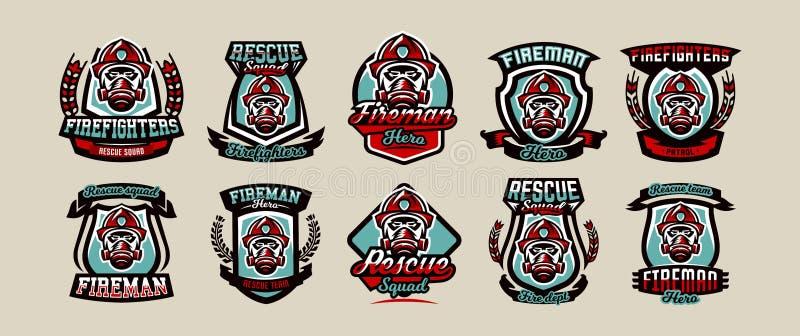 Stellen Sie von den bunten Emblemen, von den Ikonen, von den Logos, von der Feuerwehr, vom Feuerwehrmann, vom Sturzhelm und von d lizenzfreie abbildung