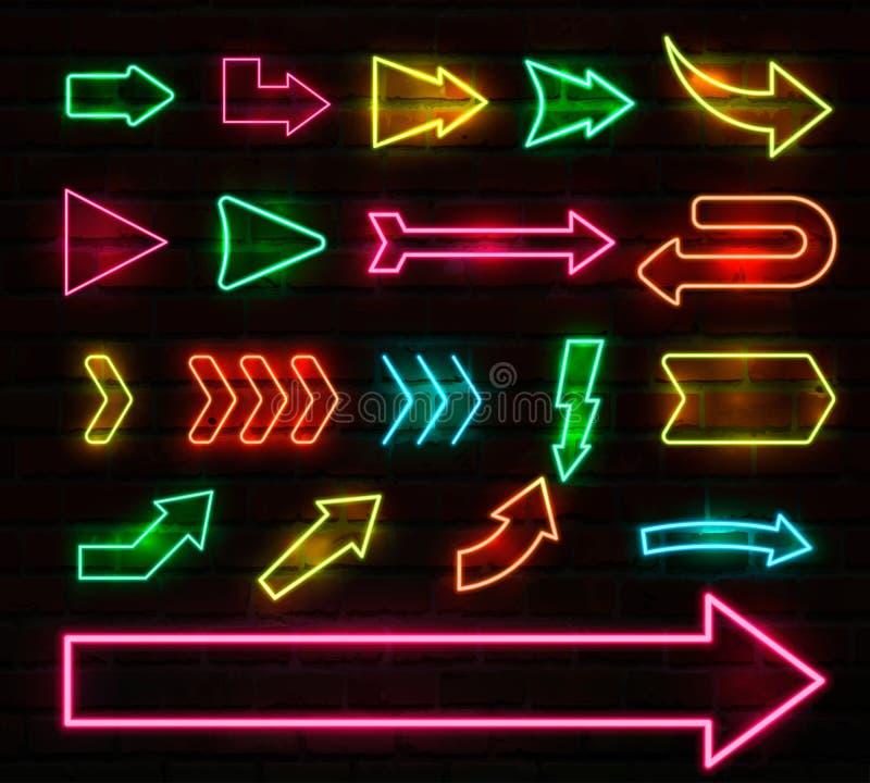 Stellen Sie von den bunten Neonpfeilen und von den Zeigern, Vektorillustration ein vektor abbildung