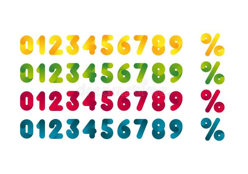 Stellen Sie von den bunten Zahlen und von den Prozentsatz-Symbolen ein Schablonen-Gestaltungselemente für Promo-Plakate und Fahne stock abbildung