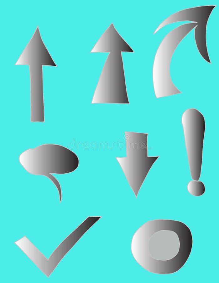 Stellen Sie von den Charakteren - graue Steigung auf Pfeilen, Cursor, Ausrufezeichen, blauer Hintergrund, die lokalisierten Chara lizenzfreie abbildung