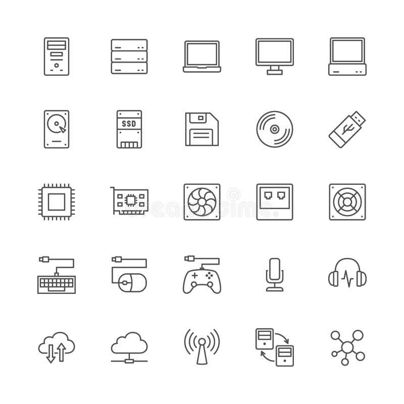Stellen Sie von den Computer-Komponenten zeichnen Ikonen ein Zentraleinheit, Konsole, Server und mehr stock abbildung