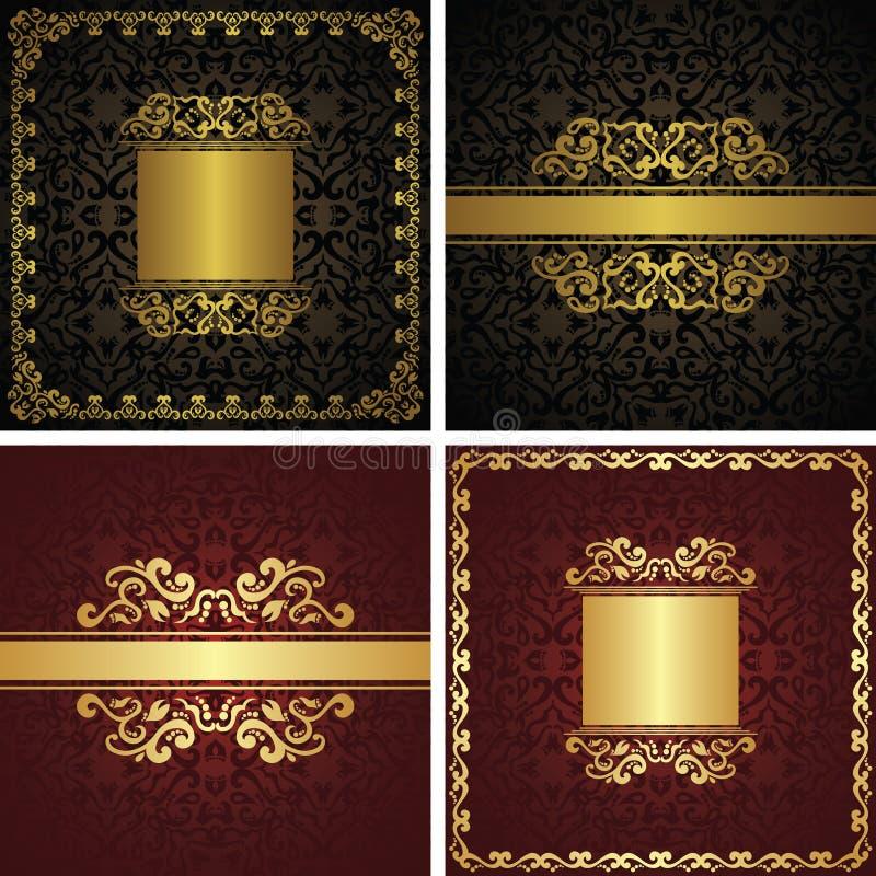 Stellen Sie von den dekorativen Luxusrahmen und den Grenzen der Vektorweinlese ein lizenzfreie abbildung
