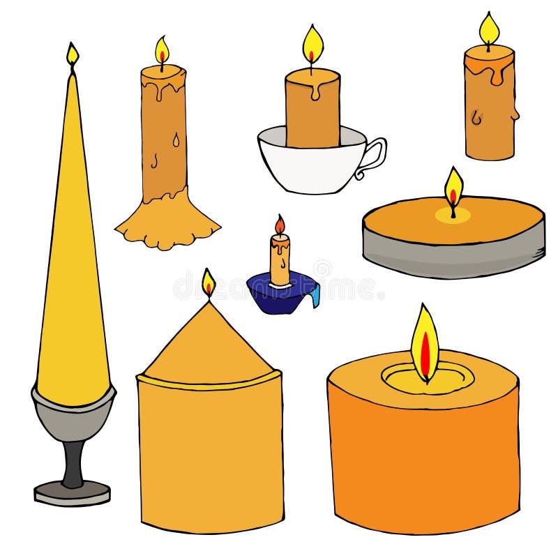 Stellen Sie von den einfachen von Hand gezeichneten Kerzen ein lizenzfreie abbildung