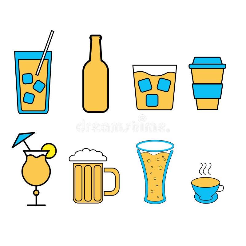 Stellen Sie von den einfachen Ikonen von alkoholischen Getränken für die Stange, Café ein: Cocktails, Gläser, Bier, Flaschen, Whi vektor abbildung