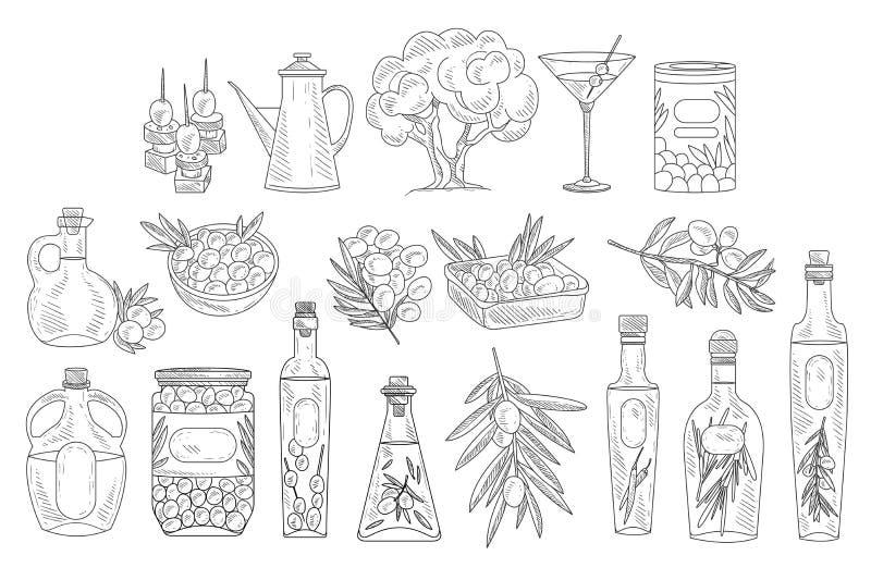 Stellen Sie von den einfarbigen Oliven, von den Niederlassungen, von den verschiedenen Ölflaschen und von den Schüsseln ein Dekor lizenzfreie abbildung