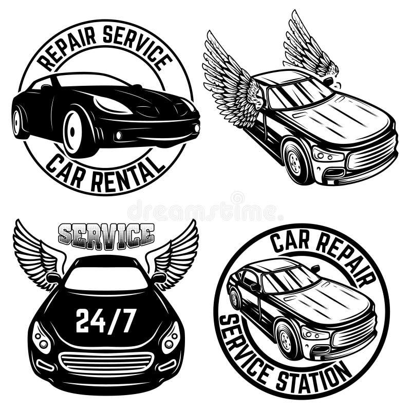 Stellen Sie von den Emblemen mit Autos ein Reparaturservice, Automiete Gestaltungselement für Logo, Aufkleber, Zeichen, Plakat, T vektor abbildung