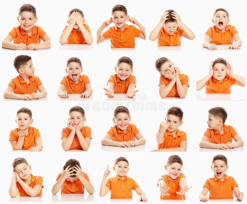 Stellen Sie von den emotionalen Bildern eines Jungen in einem orange T-Shirt, Collage, Nahaufnahme, wei?er Hintergrund ein lizenzfreies stockfoto