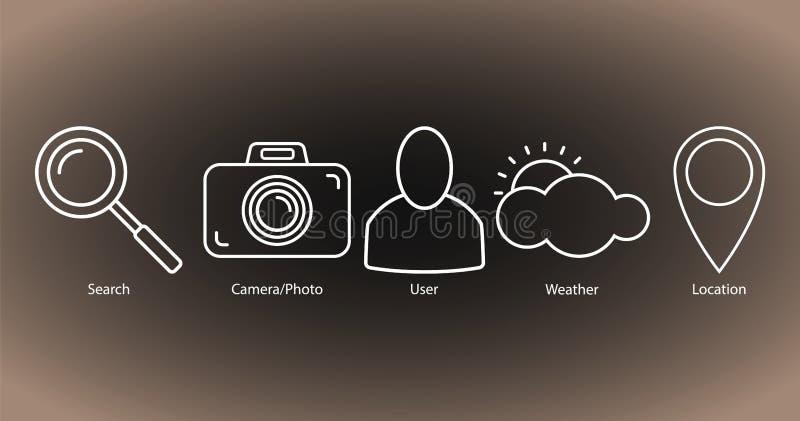 Stellen Sie von den Entwurfsikonen ein: Suche, Kamera/Foto, Benutzer, Wetter, Standort lizenzfreie abbildung