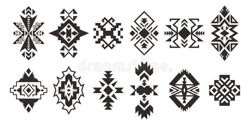 Stellen Sie von den ethnischen dekorativen Elementen ein, die auf weißem Hintergrund lokalisiert werden stock abbildung