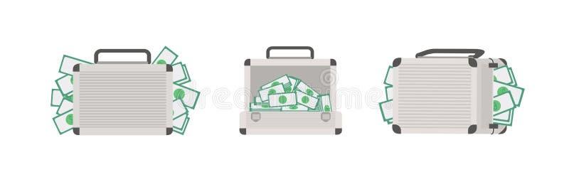 Stellen Sie von den Fällen voll vom Geld ein, das auf weißem Hintergrund lokalisiert wird Bündel Aktenkoffer mit Bargeld- oder Do vektor abbildung