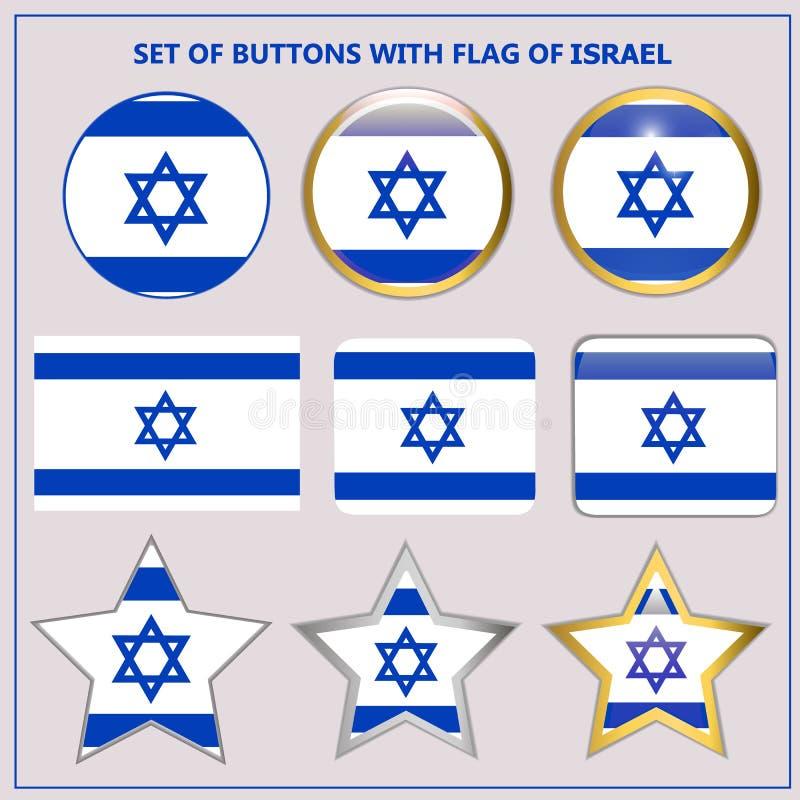 Stellen Sie von den Fahnen mit Flagge von Israel ein lizenzfreie abbildung