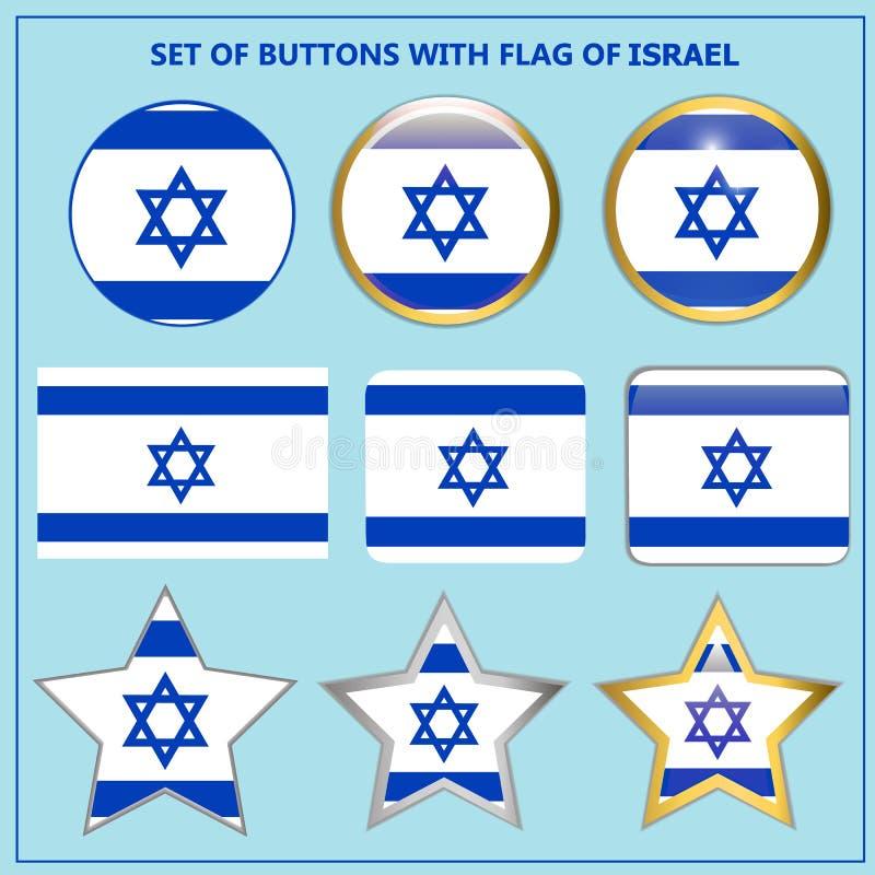 Stellen Sie von den Fahnen mit Flagge von Israel ein vektor abbildung