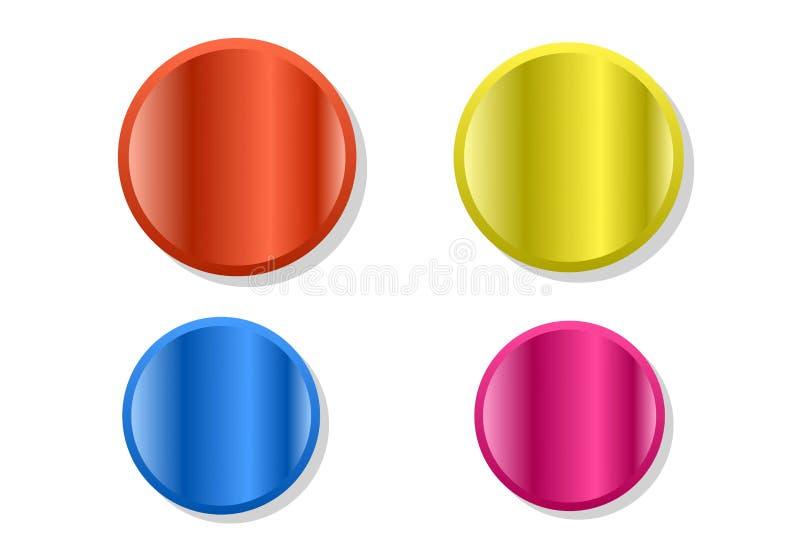 Stellen Sie von den Farben ringsum Knöpfe auf weißem Hintergrund ein Abstrakter leerer Knopf lokalisiert vektor abbildung