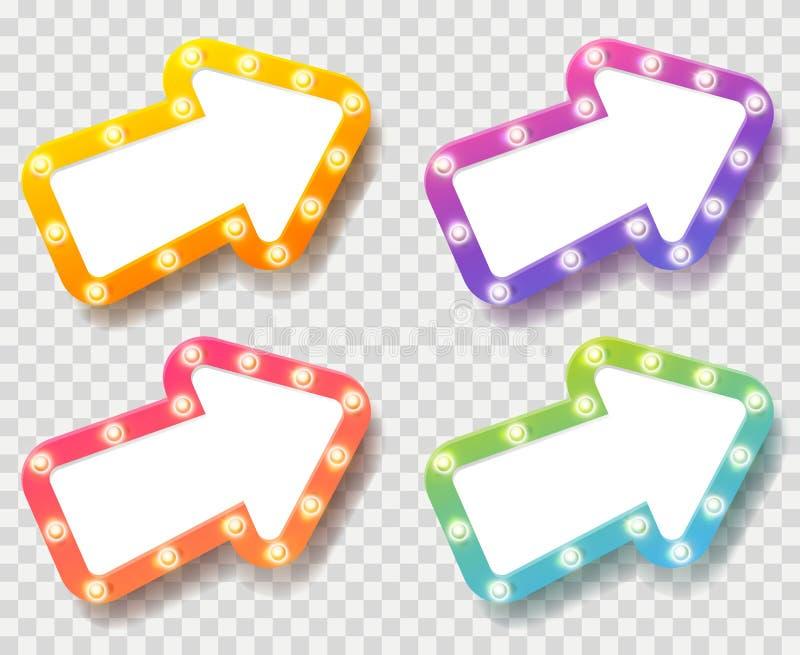 Stellen Sie von den Farbpfeilen mit glänzenden Glühlampen auf transparentem ein lizenzfreie abbildung