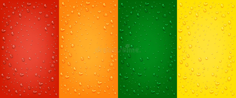 Stellen Sie von den flüssigen realistischen Tropfen des Wassers 3d auf den roten, orange, gelben, grünen Hintergründen ein lizenzfreie abbildung