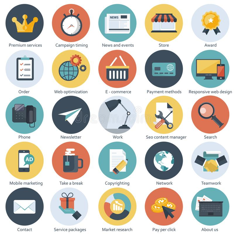 Stellen Sie von den flachen Entwurfsikonen für E-Commerce, Bezahlung-pro-Klick- Marketing, seo, entgegenkommendes Webdesign, Anse lizenzfreie abbildung