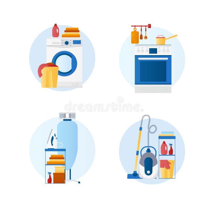 Stellen Sie von den flachen Entwurfsvektorikonen der Haushaltung, Hausarbeit, Wäscherei ein, vektor abbildung