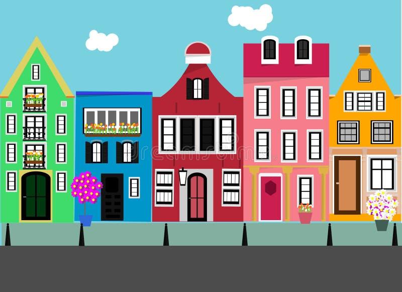 Stellen Sie von den flachen Häusern ein Straße in der Stadt vektor abbildung