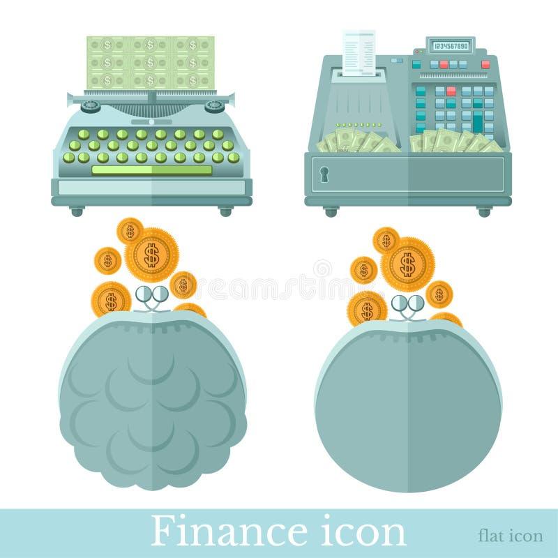 Stellen Sie von den flachen Ikonen des Geschäfts auf Weiß ein Beutel mit Goldmünzen, Schreibmaschine macht Geld und Geldkassette  lizenzfreie abbildung