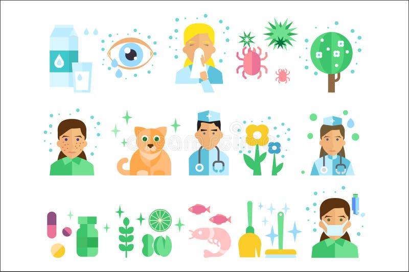 Stellen Sie von den flachen Vektorikonen mit Arten von AllergenMilchprodukten, Insekten, blühende Anlagen, Fische, Tiers-Pelz, Na lizenzfreie abbildung