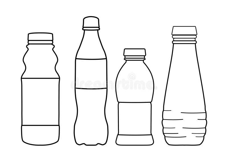 Stellen Sie von den Flaschenlinien Ikonen auf weißem Hintergrund - Vektorillustration ein lizenzfreie abbildung