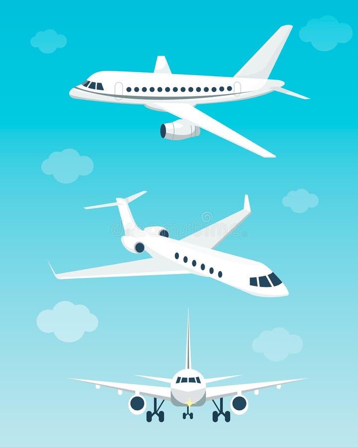 Stellen Sie von den Flugzeugen mit verschiedenen Winkeln ein Auch im corel abgehobenen Betrag Flache Karikatur stock abbildung