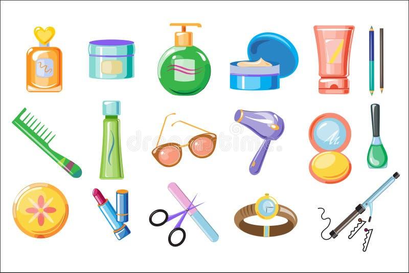 Stellen Sie von den Frauenzusätzen, vom skincare und von den Hygieneprodukten ein Badezimmerkosmetik, Parfüm, Kamm, Sonnenbrille, stock abbildung