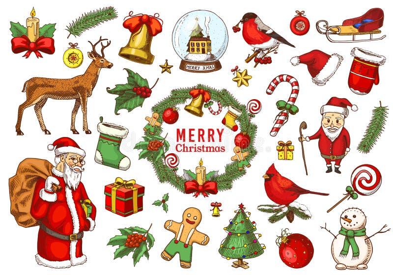 Stellen Sie von den frohen Weihnachten und neues Jahr, Weihnachtselemente mit Tieren und Santa Claus ein gravierte Hand gezeichne lizenzfreie abbildung