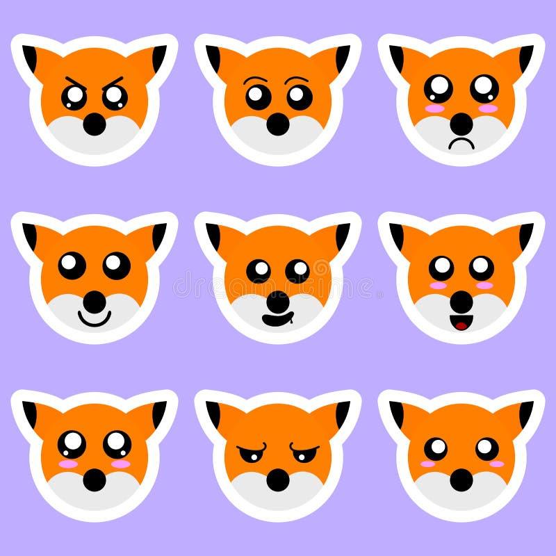 Stellen Sie von den Fuchsaufklebern ein Verschiedene Gefühle, Ausdrücke Aufkleber in der Animeart Vektorabbildung für Ihr design vektor abbildung