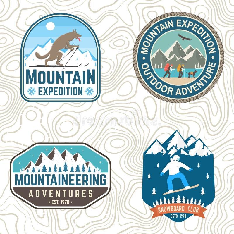 Stellen Sie von den Gebirgsexpeditions- und Snowboardvereinflecken ein Vektor Konzept für Hemd oder Ausweis, Druck Weinlesetypogr vektor abbildung