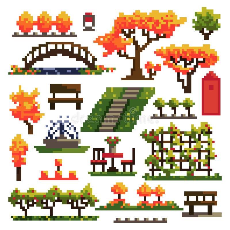 Stellen Sie von den Gegenständen für den Herbstpark ein, der auf weißem Hintergrund lokalisiert wird landschaftsgestaltung Nahtlo vektor abbildung