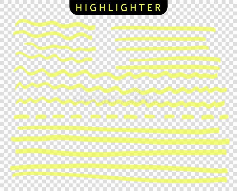 Stellen Sie von den gelben Anschlägen zeichnen Markierungen ein Vektorh?hepunkt-B?rstenlinien Handzeichnungsskizze unterstrich, S lizenzfreie abbildung