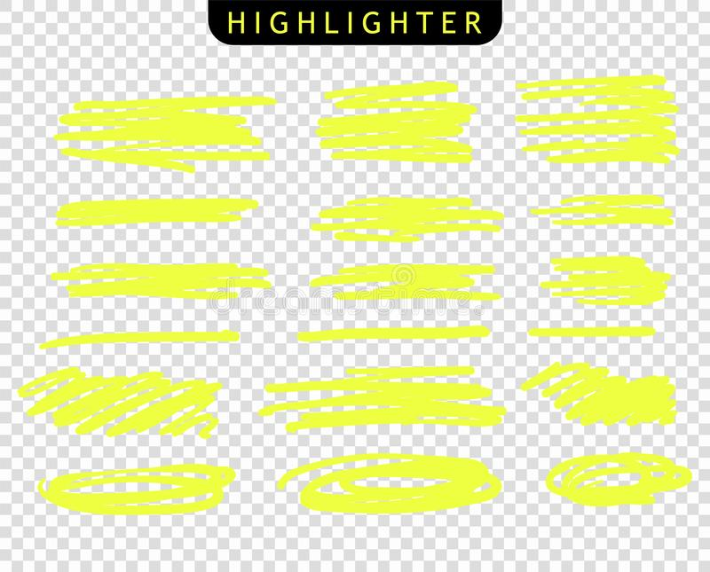 Stellen Sie von den gelben Anschlägen zeichnen Markierungen ein Vektorh?hepunkt-B?rstenlinien Handzeichnungsskizze unterstrich, S vektor abbildung